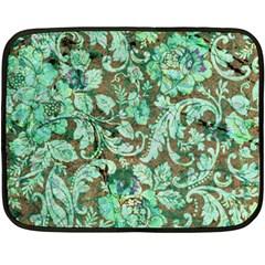 Beautiful Floral Pattern In Green Fleece Blanket (Mini)