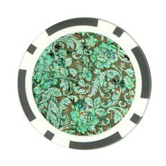 Beautiful Floral Pattern In Green Poker Chip Card Guards (10 pack)