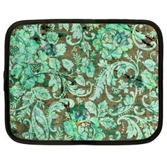 Beautiful Floral Pattern In Green Netbook Case (XXL)