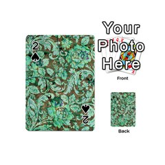 Beautiful Floral Pattern In Green Playing Cards 54 (Mini)