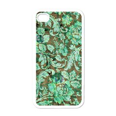 Beautiful Floral Pattern In Green Apple iPhone 4 Case (White)