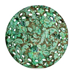 Beautiful Floral Pattern In Green Round Filigree Ornament (2side)