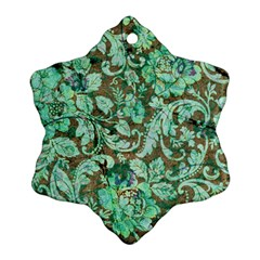 Beautiful Floral Pattern In Green Snowflake Ornament (2-Side)