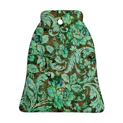 Beautiful Floral Pattern In Green Bell Ornament (2 Sides)