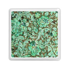 Beautiful Floral Pattern In Green Memory Card Reader (square)