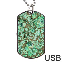 Beautiful Floral Pattern In Green Dog Tag Usb Flash (two Sides)