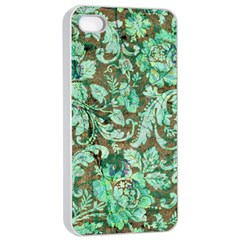 Beautiful Floral Pattern In Green Apple Iphone 4/4s Seamless Case (white)