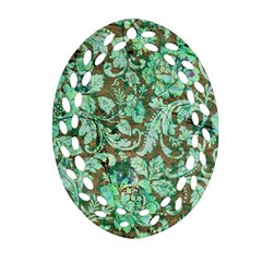 Beautiful Floral Pattern In Green Oval Filigree Ornament (2-Side)