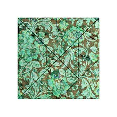 Beautiful Floral Pattern In Green Acrylic Tangram Puzzle (4  x 4 )