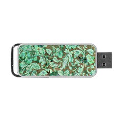 Beautiful Floral Pattern In Green Portable USB Flash (One Side)