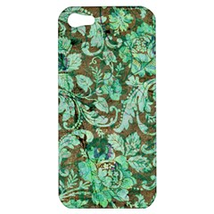 Beautiful Floral Pattern In Green Apple iPhone 5 Hardshell Case
