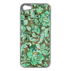Beautiful Floral Pattern In Green Apple iPhone 5 Case (Silver)