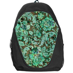 Beautiful Floral Pattern In Green Backpack Bag