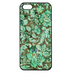 Beautiful Floral Pattern In Green Apple iPhone 5 Seamless Case (Black)
