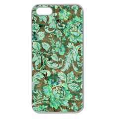 Beautiful Floral Pattern In Green Apple Seamless iPhone 5 Case (Clear)