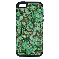 Beautiful Floral Pattern In Green Apple iPhone 5 Hardshell Case (PC+Silicone)