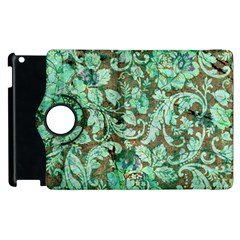 Beautiful Floral Pattern In Green Apple iPad 3/4 Flip 360 Case