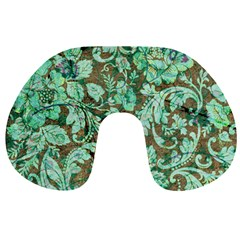 Beautiful Floral Pattern In Green Travel Neck Pillows