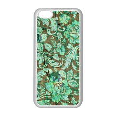 Beautiful Floral Pattern In Green Apple iPhone 5C Seamless Case (White)