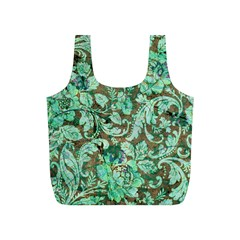 Beautiful Floral Pattern In Green Full Print Recycle Bags (s)