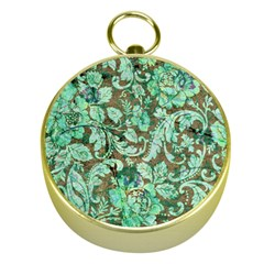 Beautiful Floral Pattern In Green Gold Compasses