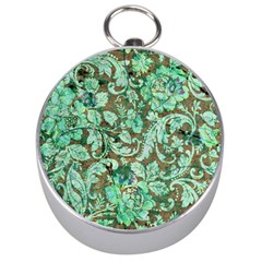 Beautiful Floral Pattern In Green Silver Compasses