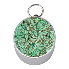 Beautiful Floral Pattern In Green Mini Silver Compasses