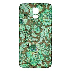 Beautiful Floral Pattern In Green Samsung Galaxy S5 Back Case (White)
