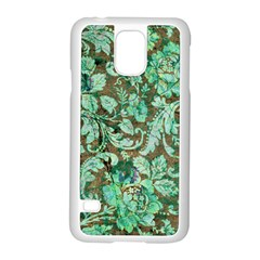 Beautiful Floral Pattern In Green Samsung Galaxy S5 Case (White)