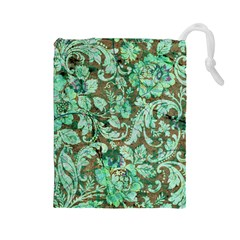 Beautiful Floral Pattern In Green Drawstring Pouches (Large)