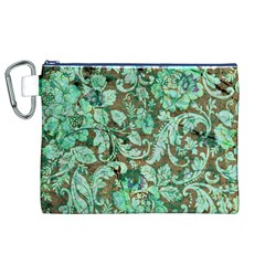 Beautiful Floral Pattern In Green Canvas Cosmetic Bag (XL)