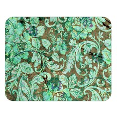 Beautiful Floral Pattern In Green Double Sided Flano Blanket (large)