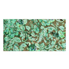 Beautiful Floral Pattern In Green Satin Shawl