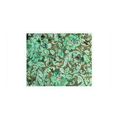 Beautiful Floral Pattern In Green Satin Wrap