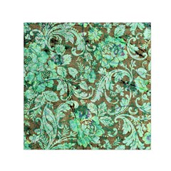 Beautiful Floral Pattern In Green Small Satin Scarf (Square)