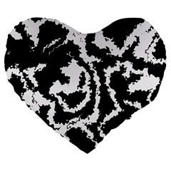 Migraine Bw Large 19  Premium Flano Heart Shape Cushions
