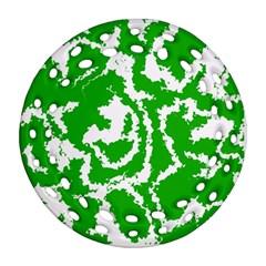 Migraine Green Round Filigree Ornament (2Side)