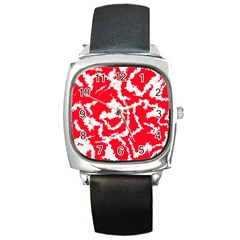 Migraine Red White Square Metal Watches