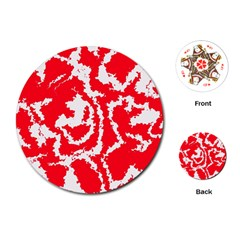 Migraine Red White Playing Cards (Round)