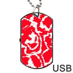 Migraine Red White Dog Tag USB Flash (Two Sides)