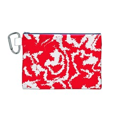 Migraine Red White Canvas Cosmetic Bag (M)