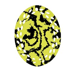 Migraine Yellow Oval Filigree Ornament (2 Side)