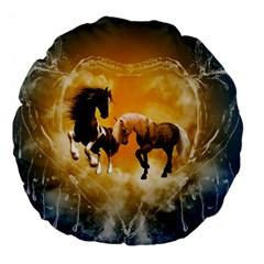 Wonderful Horses Large 18  Premium Round Cushions