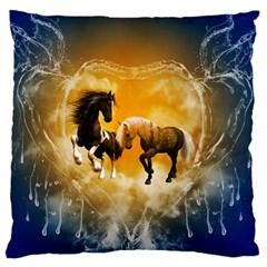 Wonderful Horses Large Flano Cushion Cases (Two Sides)