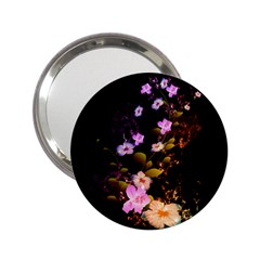 Awesome Flowers With Fire And Flame 2.25  Handbag Mirrors