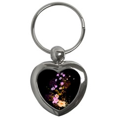 Awesome Flowers With Fire And Flame Key Chains (Heart)
