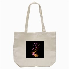 Awesome Flowers With Fire And Flame Tote Bag (Cream)