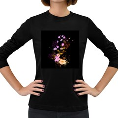 Awesome Flowers With Fire And Flame Women s Long Sleeve Dark T-Shirts