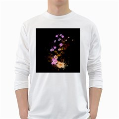 Awesome Flowers With Fire And Flame White Long Sleeve T Shirts