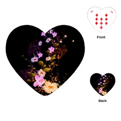 Awesome Flowers With Fire And Flame Playing Cards (Heart)